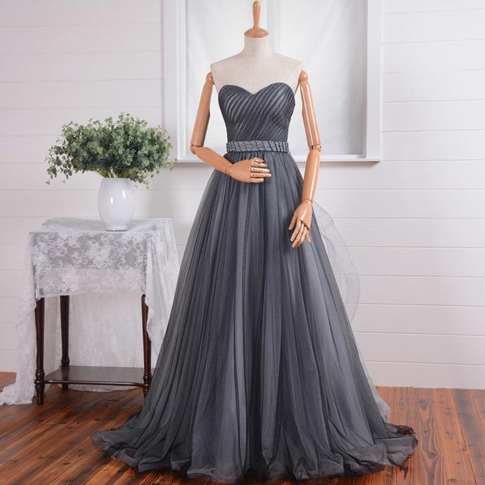 48b44e5d91e Gray Burgundy Sweetheart Neckline Sequins Tulle A- Line Prom Dress Sexy Sash