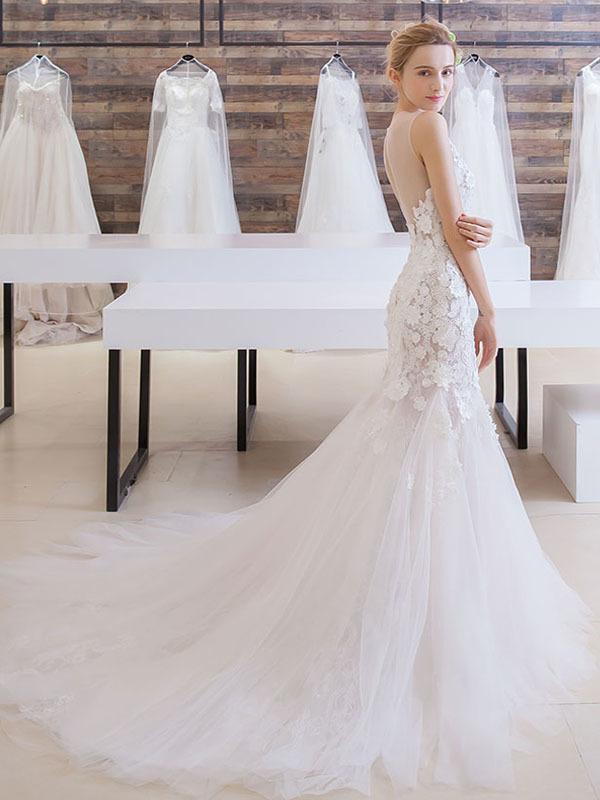 Long Wedding Dress, Sleeveless Wedding Dress, by prom dresses on