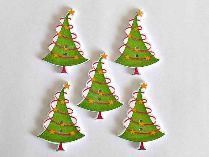 5 wooden christmas tree buttons christmas buttons tree buttons - Christmas Buttons