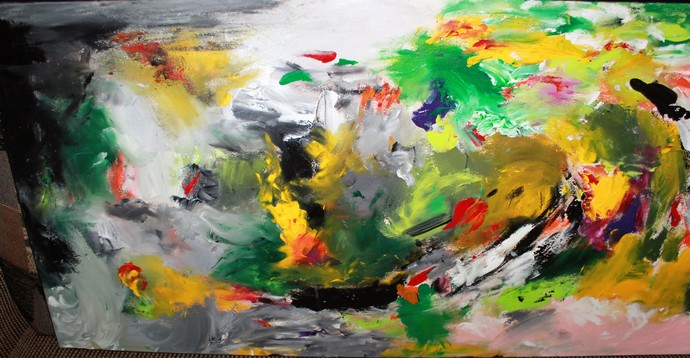 """The Tornado of Sweet Dreams"", Abstract, Acrylic/ Thick Board Canvas, 18"" x 36"""