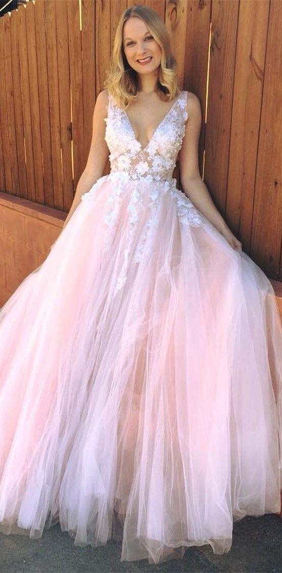 elegant A-line V neck pink princess long prom by RosyProm on Zibbet