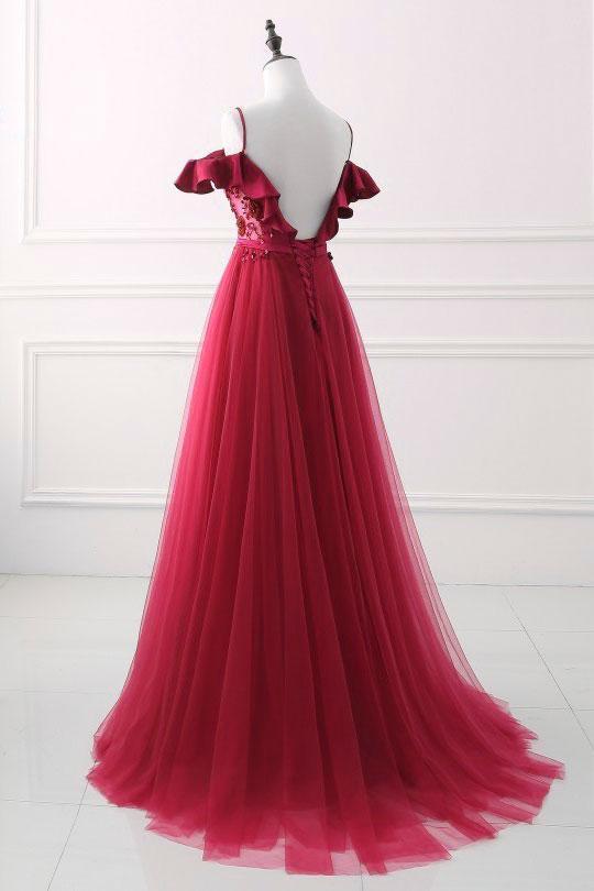 Elagant Burgundy Off The Shoulder Sequined Beaded Long Prom Dress,Burgundy Tulle