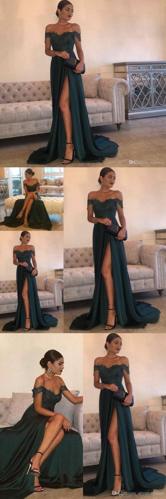 9207c9394095 ... Sexy Off Shoulder Long Party Dress 0856. by RosyProm. A-Line Hunter  Green/Royal Blue Evening Dress, Chiffon High Split Lace Top
