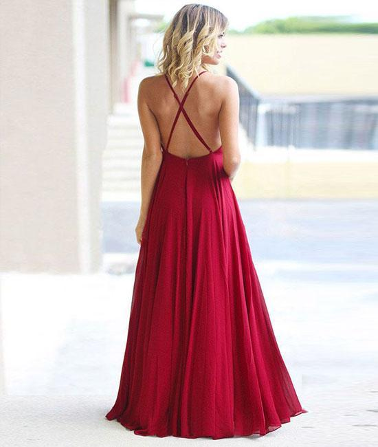 Simple Burgundy A-Line Floor Length Chiffon Prom Dress,Burgundy Evening Dress