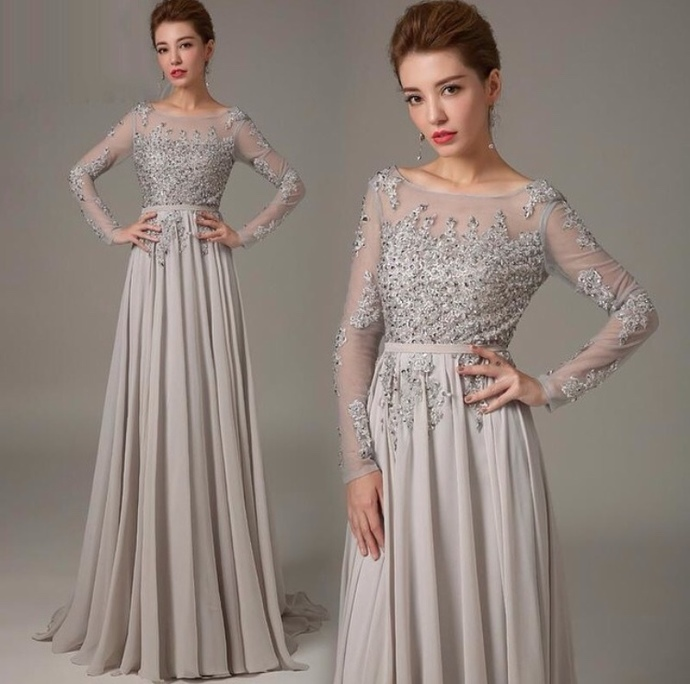 Long Sleeve Lace Prom Dresses Grey Prom Dress By Dresses On Zibbet