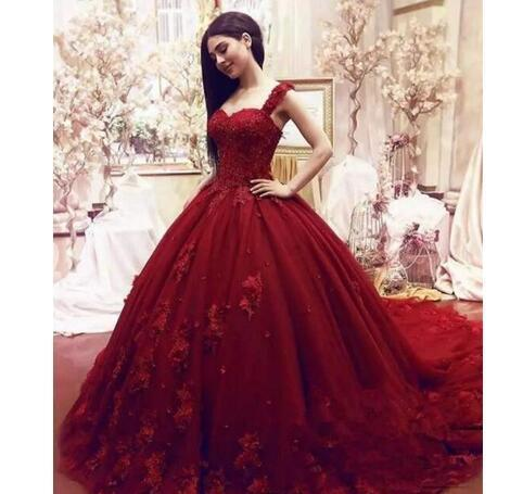 b0abd06ca11 Fashion Dark Red Quinceanera Dresses Ball Gown Lace Appliques Beaded Sexy  Girls