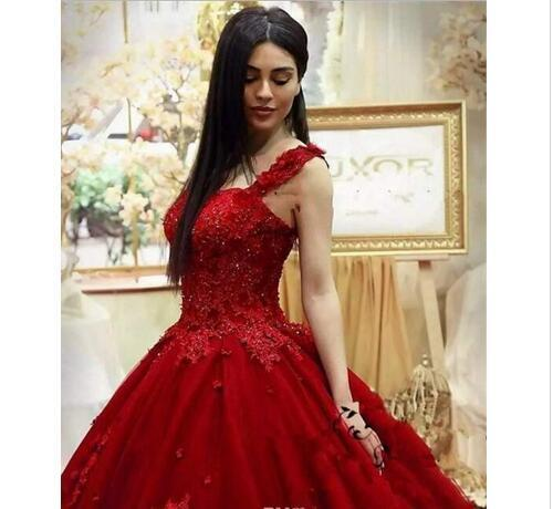Fashion Dark Red Quinceanera Dresses Ball Gown Lace Appliques Beaded Sexy Girls