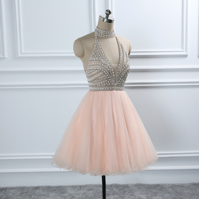Crystal Beading Homecoming Dresses European Sweet Formal Prom Party Graduation