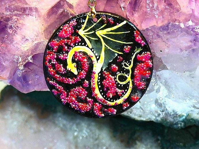 hand painted Gold dragon wood pendant with gold bail and golden necklace