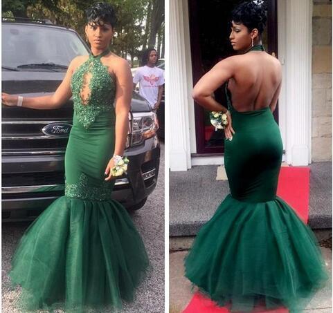 Dark Green Black Girls Mermaid Prom Dresses Long  Halter Lace Appliques Beaded