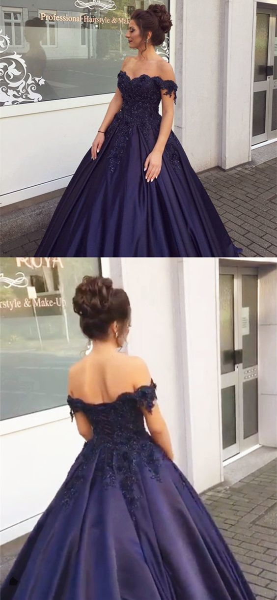 Navy Blue Ball Gowns Off Shoulder Wedding by MeetBeauty on Zibbet