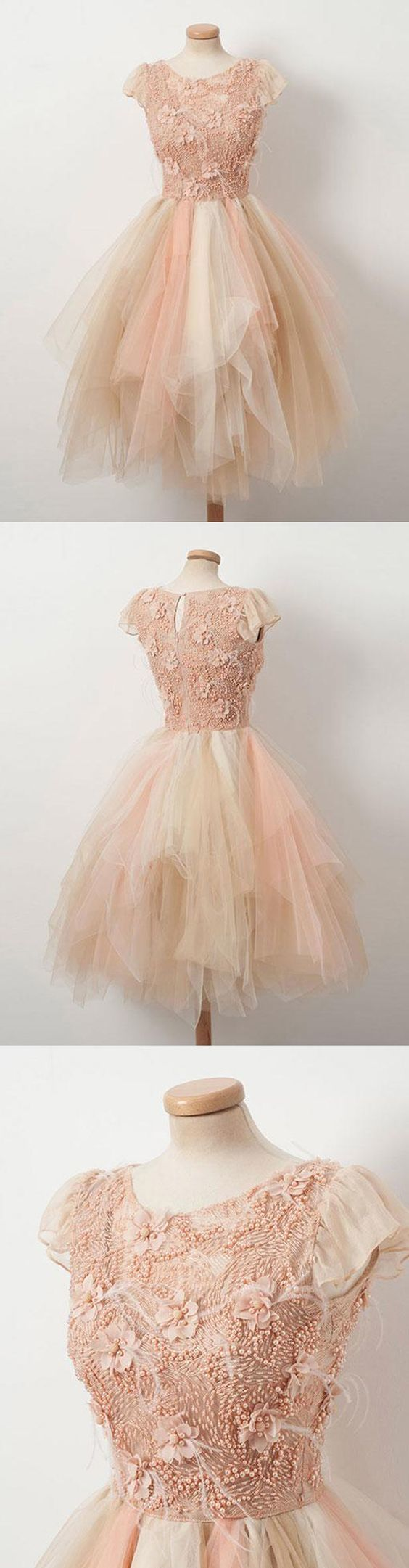 Vintage Knee Length Cap Sleeves Tiered Ruffled Champagne Tulle Homecoming Dress