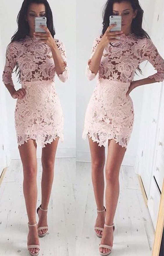 Tight Lace Homecoming Dressesshort Prom Dressessexy Cocktail Dresses With Sleevestight Homecoming Dress