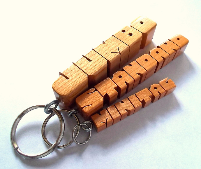 "Name Keychain in Sapele ""Pommele"" Wood, Custom Carved to Order"