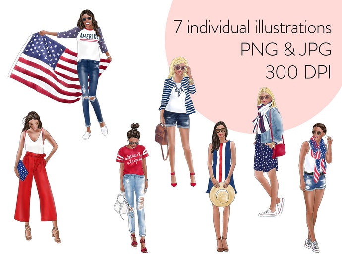 Watercolour fashion illustration clipart - Girls in Red, White & Blue - Dark