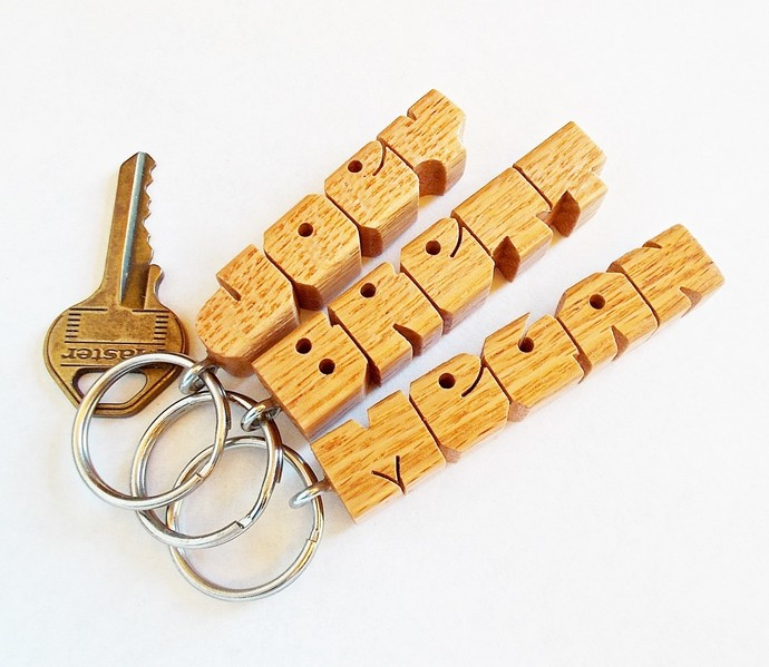 3 NAME SPECIAL, Wood Name Keychains, Standard Size, Carved to Order  - FREE U.S.