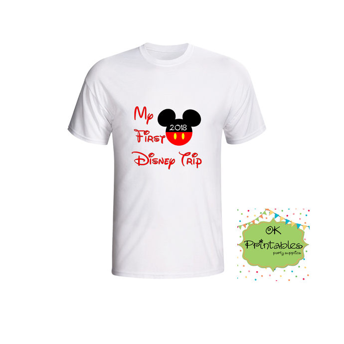 First Trip To Disney Printable 2018 Iron on Transfer - INSTANT Download - Family