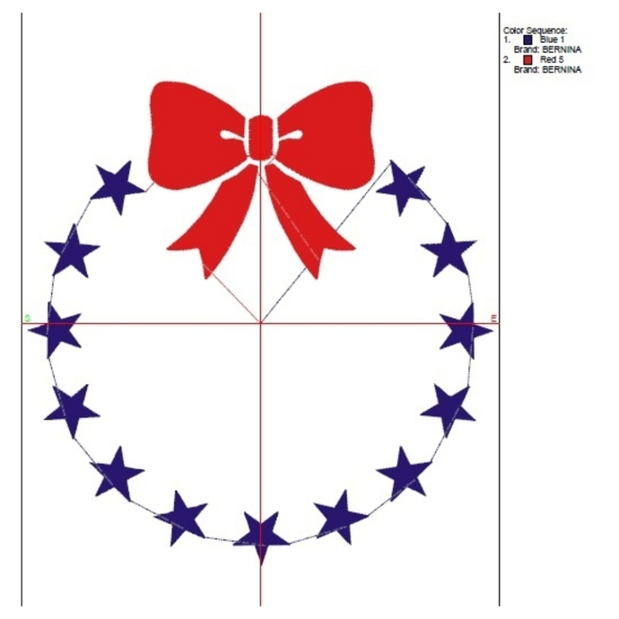 Embroidery machine design July 4th Circle bow Patriotic usa designs digital