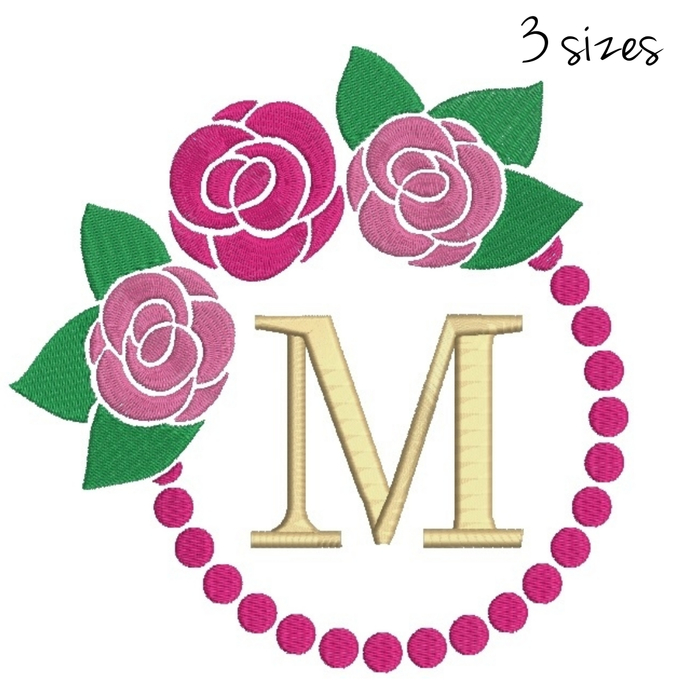 Rose Embroidery machine design Circle monogram designs digital instant download