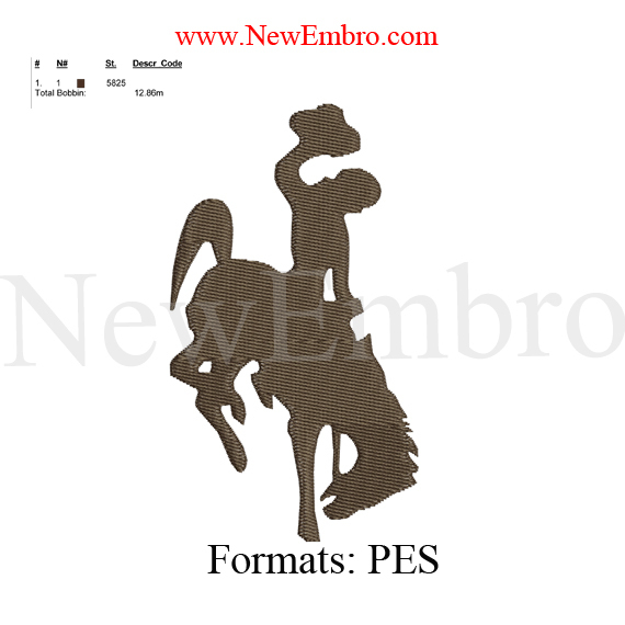 cowboy embroidery design embroidery pattern  ... 2 sizes