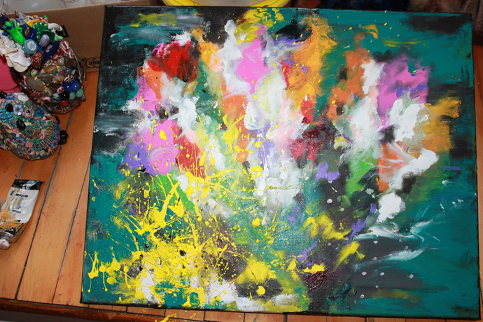 "The Happy Tornado"" , Abstract, Original, Acrylic on Canvas  16"" X 20"" in."