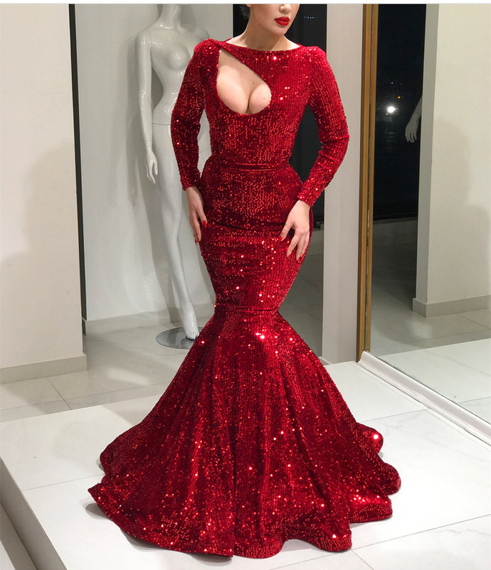 Long Sleeves Red Sequin Mermaid Prom Dress, shining evening dress