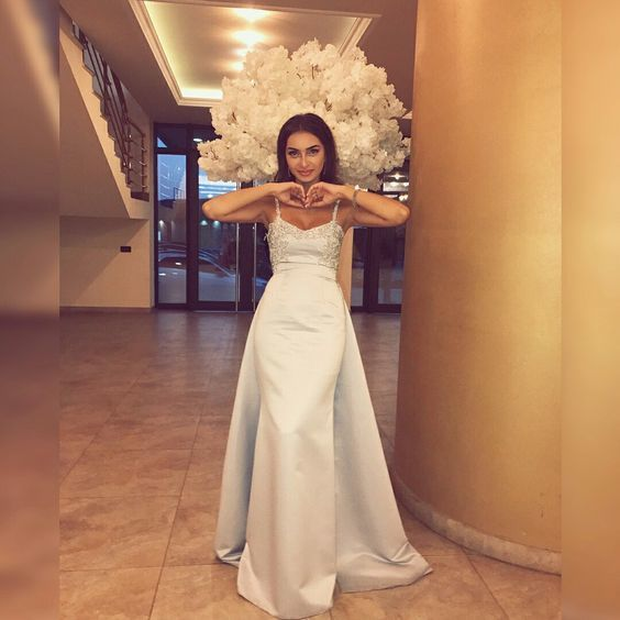 luxury v-neck stain sexy long prom dress ,nattier blue evening dress