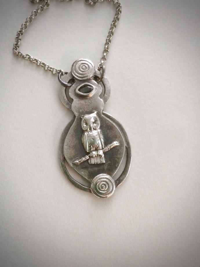 Owl necklace, silver owl, green sapphire, totem necklace, OOAK necklace, unique