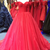 red super a-line luxury long tulle Prom Gown,off the shoulder Prom