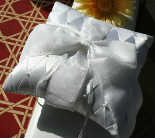 Ring-bearers Pillow,  satin 5 inch square, satin and pearl