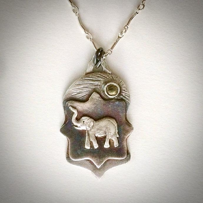 Elephant necklace, OOAK necklace, yellow sapphire, totem necklace, unique