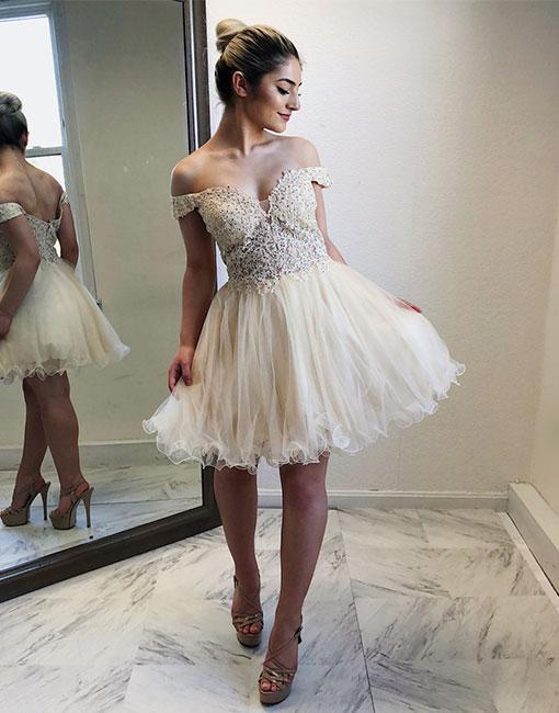 Cute Off The Shoulder Ivory Lace Homecoming Dress,A-Line Tulle Party Dress,Women