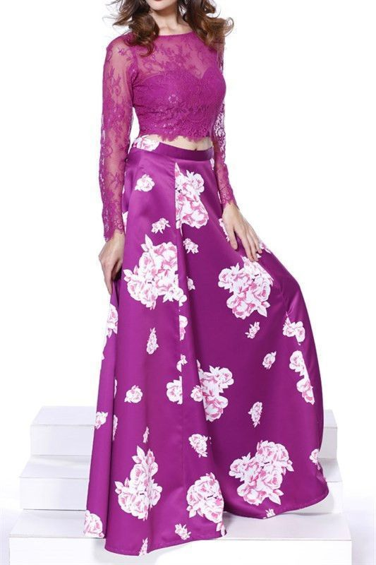 Floral Magenta Lace Long Sleeve Two Piece by prom dresses on Zibbet