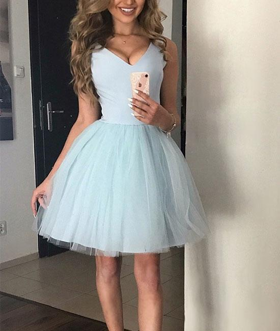 Cute V-Neck Light Blue Tulle Homecoming Dress,A-Line Tulle Party