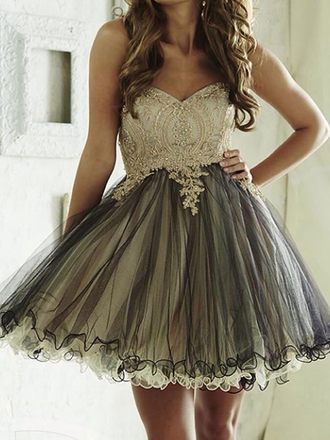 Cute Sweetheart A-Line Lace Homecoming Dress,Short Tulle Party Dress