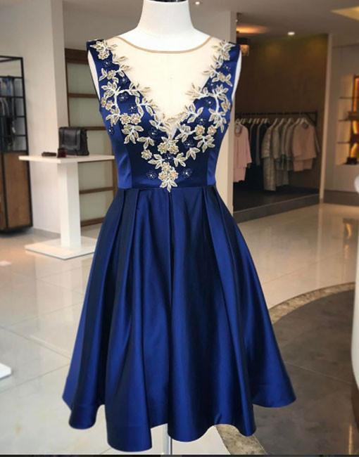 Cute Blue Round Neck Applique Homecoming Dress,A Line Homecoming Dresses