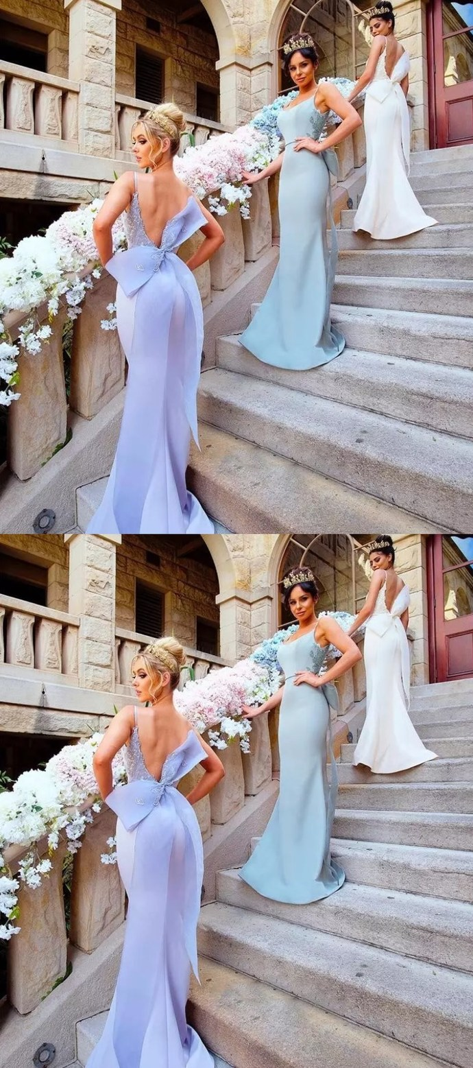 Sexy Straps Mermaid Long Bridesmaid Dress with Ribbon