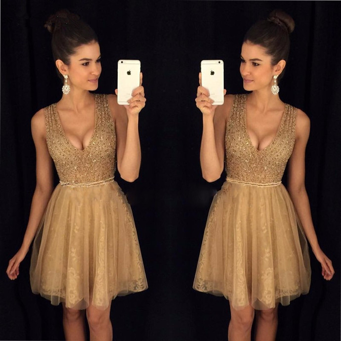 Sparkly Gold Short V Neck Short Homecoming Dress Party Dress