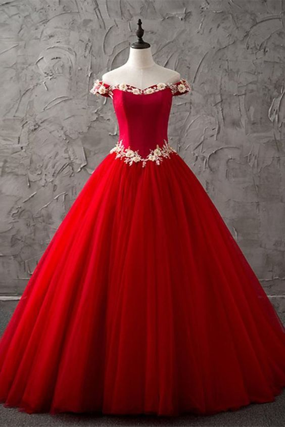 6ef7b6fc8e6c red tulle off shoulder sweetheart long high neck evening dress with white  lace