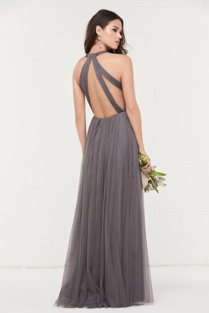 V Neck Prom Dresses, Open Back Prom Dress with Cutout, Sleeveless Long Prom