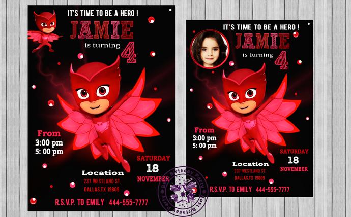 pj mask invitation invitation owlette by bestbirthdayparty on zibbet