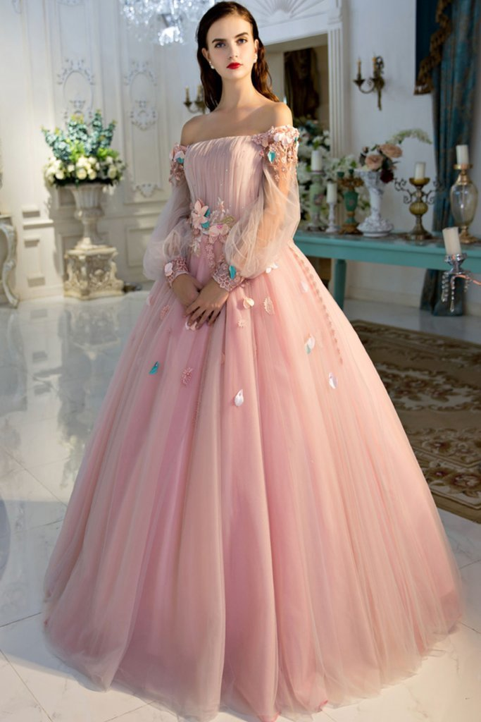 9abfa4c0fa16 PINK OFF SHOULDER TULLE LONG PROM DRESS by lass on Zibbet