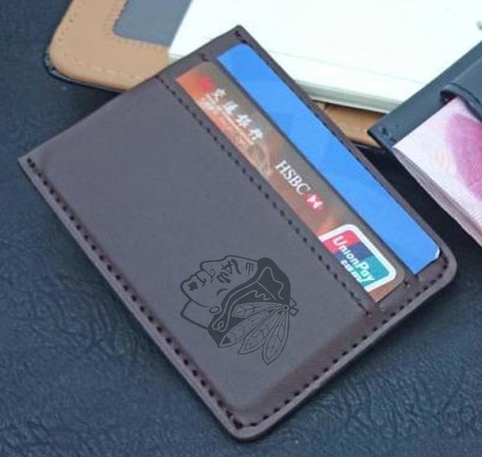 Blackhawks PU Leather Card Holder Magnetic Money Clip