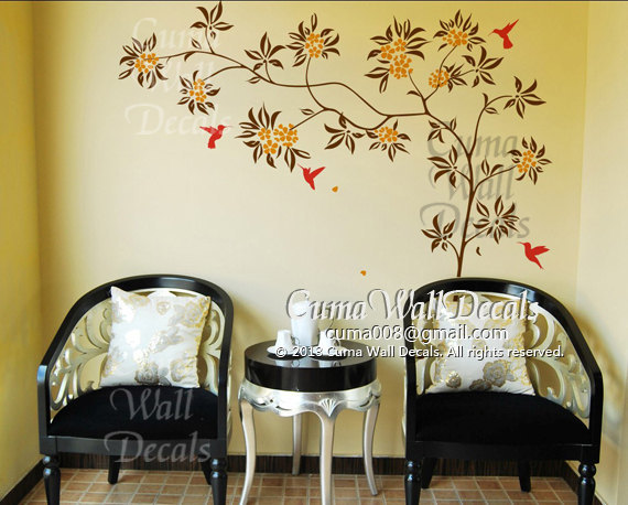nursery wall decal flower tree with hummingbird Office wall decal Childrey wall