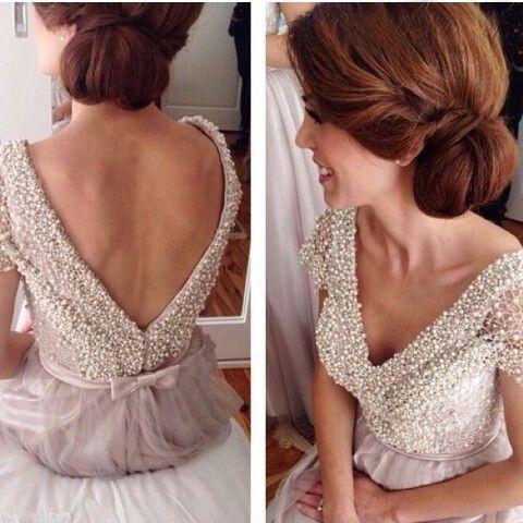 Pretty A-line V-neck pearl beading long prom dress,formal dresses