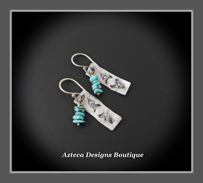 Artifact~ Campitos Turquoise Sterling Silver Hand Stamped Artisan Earrings