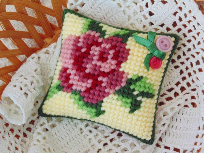 Bird and Rose Mini Pillows, Vintage Style Needlepoint, Home Decor, Retro Vintage