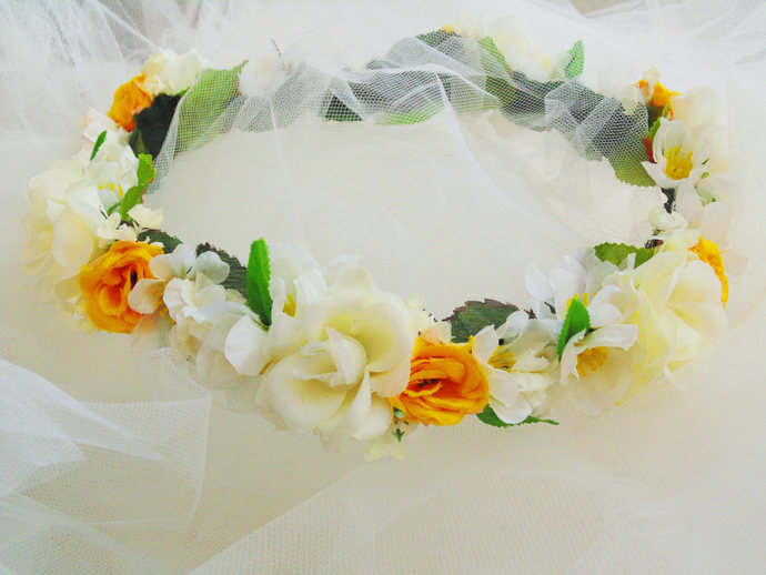 Rustic wedding flower crown wedding by bunnies made of bread on rustic wedding flower crown wedding flower crown golden yellow white rose mightylinksfo