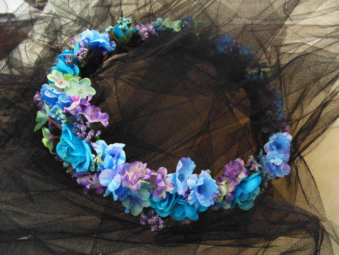 Blue-Violet Flower Crown, Bridesmaid Tiara, Baby Shower Crown, Renaissance Fair