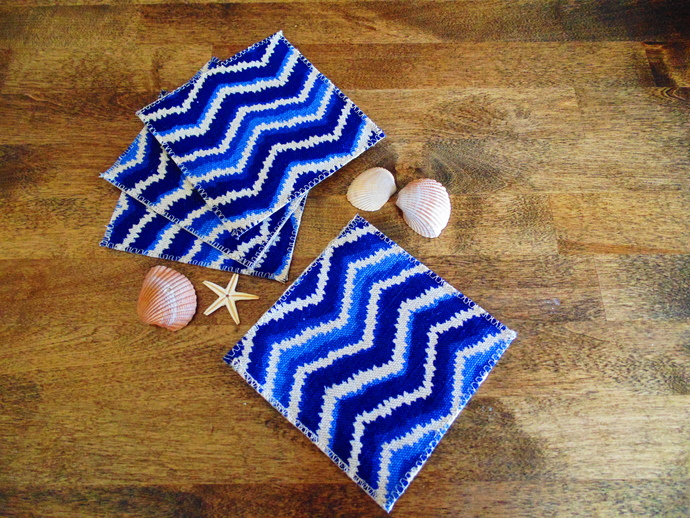 Blue Chevron Coasters